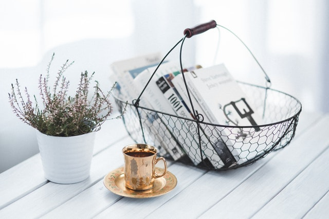 Golden cup and basket